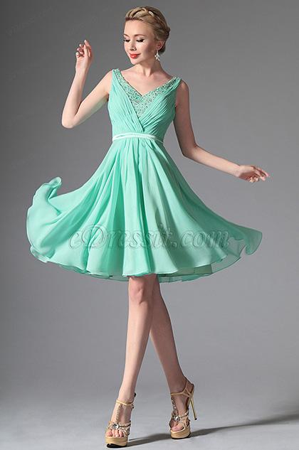 eDressit 2014 Neu Leicht Grüne V-Ausschnitt  Cocktail Kleid Party Kleid (04146604)