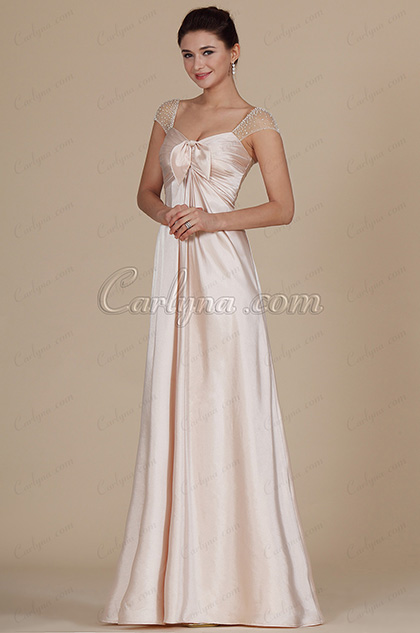 Stylish Cap-sleeves Bowknot Evening Dress (C00141501)