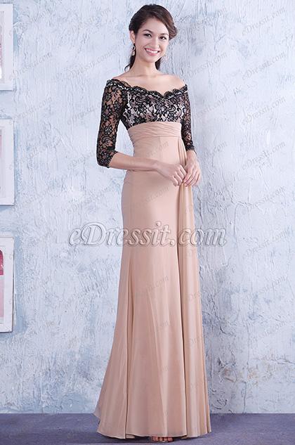 Elegant Off Shoulder Empire Waist Mother of the Bride Dress (26133546)