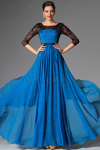 Stunning Lace Sleeves Blue Evening Dress Formal Gown (26149105)