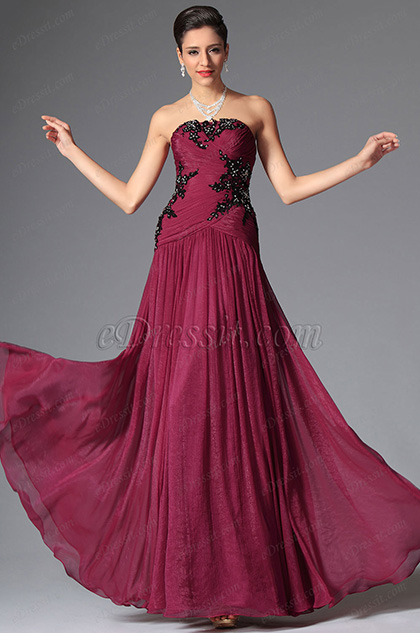 Strapless Beaded Lace Applique Floor Length Evening Dress (00148312)