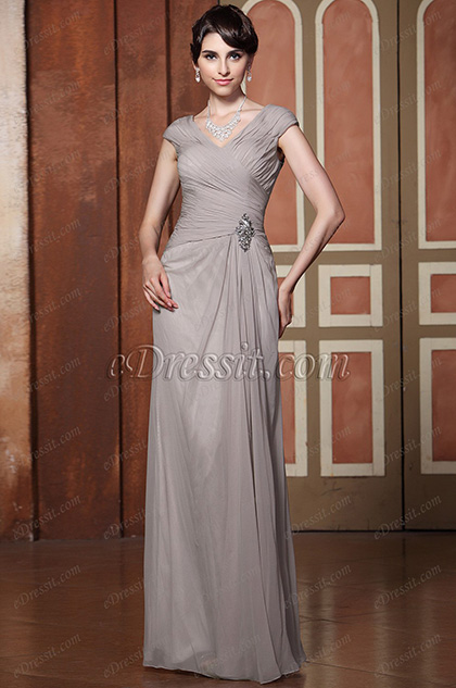 Sexy V Neck Cap Sleeves Floor Length Mother of the Bride Dress (26132708)
