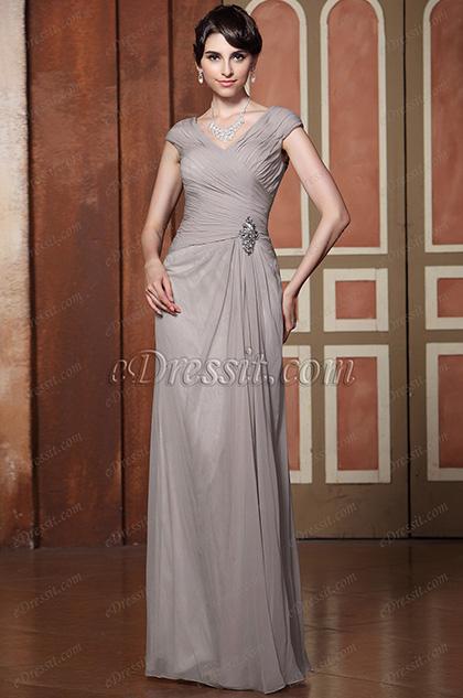 Robe mère de mariée grise longue drapée décolleté en V Sexy (26132708)