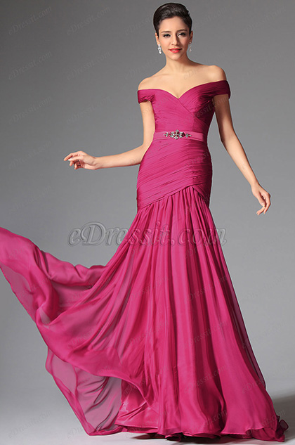 Gorgeous Hot Pink Off Shoulder Evening Dress Formal Gowns (02147312)