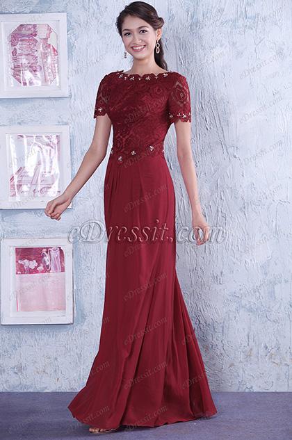 Замечательное Красное Топ со Кружевами и бисерами Платье для Матери Невесты (26140517)