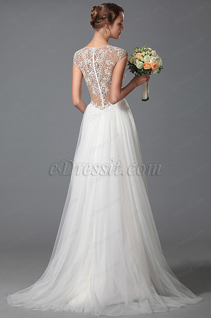 eDressit Simple V Cut Lace Beach Embroidery Wedding Gown Bridal Dress