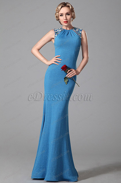 Elegant Beaded Shoulders Ruched Neck Evening Gown Formal Dress (00151605)