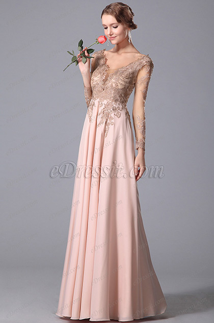 eDressit Empire Waist Long Lace Sleeves Gown With V Cut (00150701)
