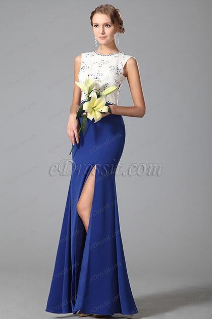 Элегантное Без Рукава Высокий Разрез Синее Вечернее Платье для Торжеств (00151905)