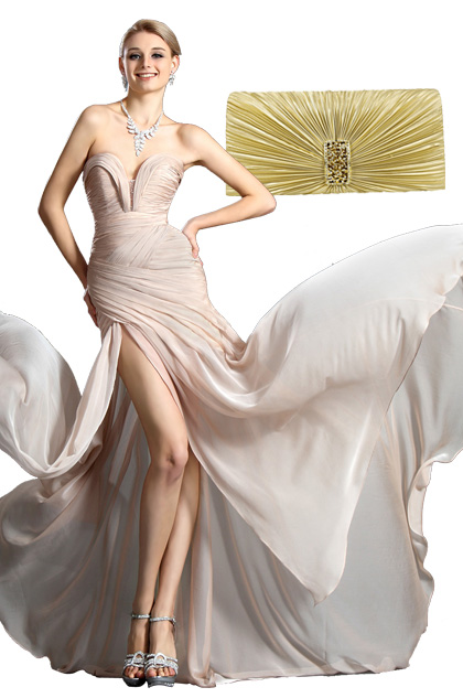 Stylish Ruched Bodice Evening Dress+Golden Handbag Set (00120514+08110324)