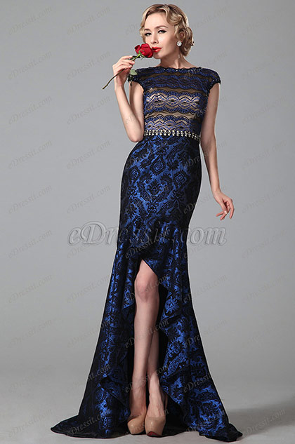 Stunning High Low Evening Gown With Metal Waist Chain (02151005)