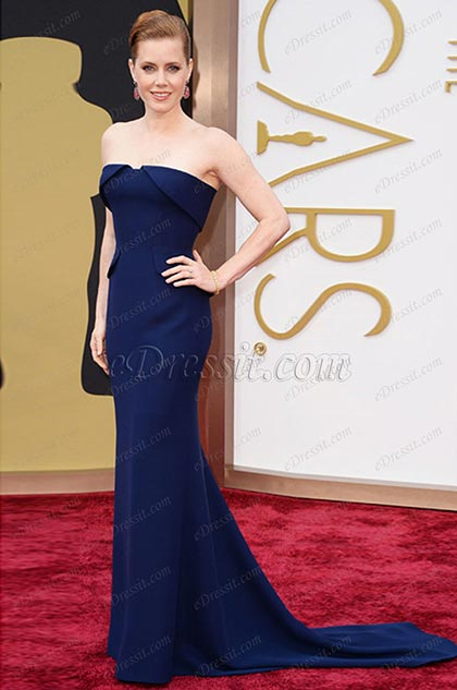 Robe de soirée bustier bleue Amy Adams 86th Academy Awards (cm1407)