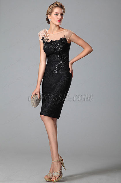 Fabulous Shinning Sequins Sheer Top Little Black Dress (03150100)