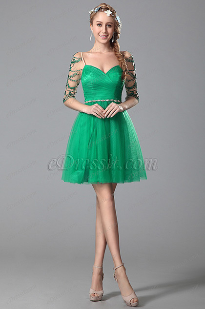 Robe de cocktail verte cache-coeur manches en strass (04150204)