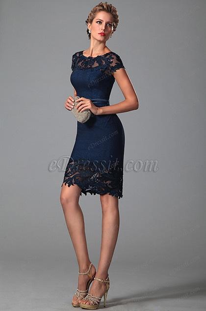 Edressit robe cocktail ville bleu nuit mancherons dentelle for Robes de demoiselle d honneur aqua pour mariage sur la plage