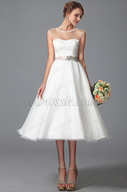 Sleeveless Sheer Top Wedding Dress Tea Length (01150113)