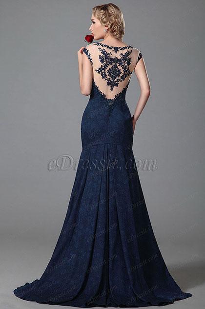 Robe de soirée splendide longue moulante bleu nuit broderie (02152405)