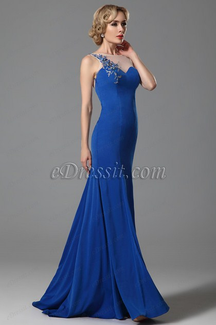 Elegant Blue Embroidery Applique Evening Gown Formal Dress (02153205)