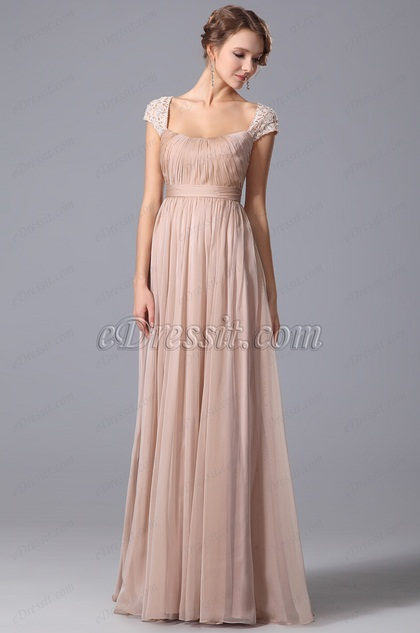A Line Evening Dress With Lace Cap Sleeves (00152946)
