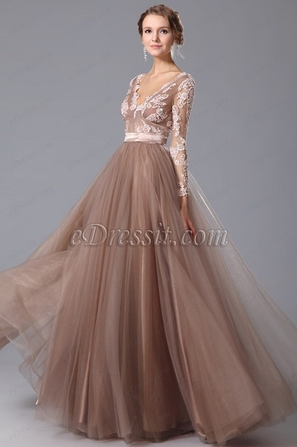 eDressit V Neck Long Sleeves Graduation Dress Prom Gown (02150546)