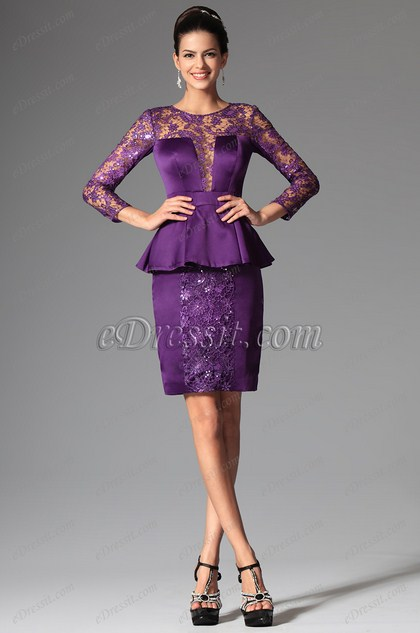 Lace Sleeves One Piece Short Mother of the Bride Dress (26148706)
