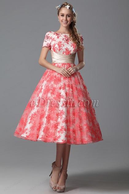 Edressit Short Sleeves Cocktail Dress Tea Length 04151057
