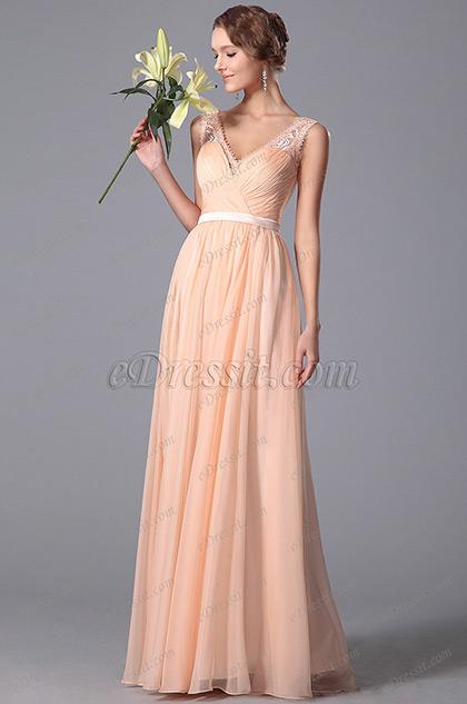 Elegant Sleeveless Lace Shoulders Peach Bridesmaid Dress (00152001)
