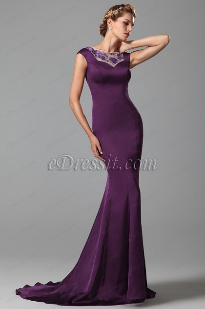 Noble Purple Lace Embroidery Mother of the Bride Dress (26151806)