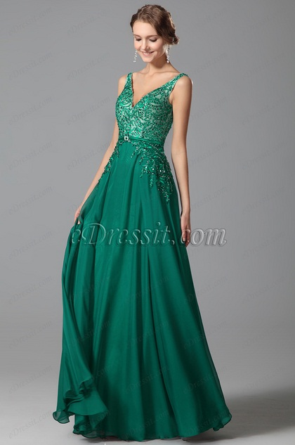 Sexy Plunging V Neck Embroidery Prom Dress Evening Gown (00151704)