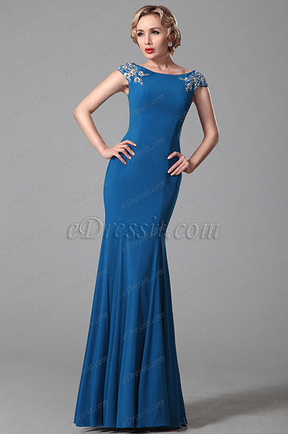 Glamourous Trumpet Embroidery Cap Sleeves Blue Evening Gown (00151505)