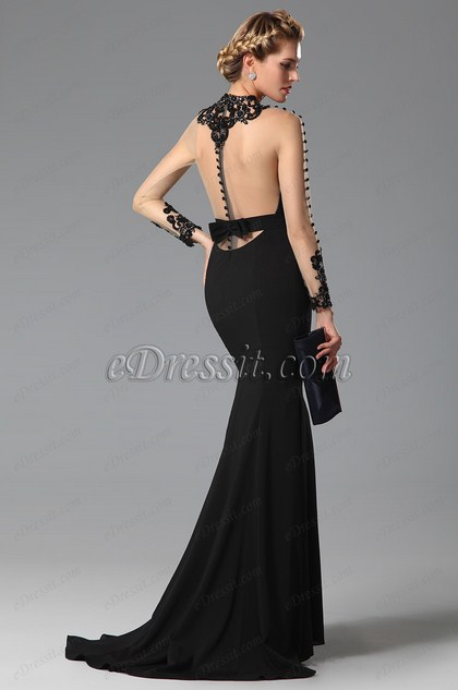 eDressit  High Neck Back Bowknot Slit Black Evening Gown (02150100)