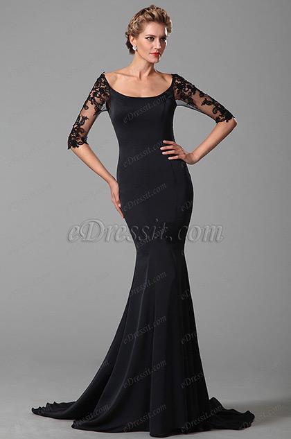 Azul muy Oscuro Vestido para Madre de la Novia Sirena Elegante(26151605)