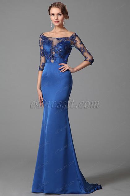 Elegant Blau Auf-Schulter Halb Ärmel Prom Kleid Abendkleid (02152805)