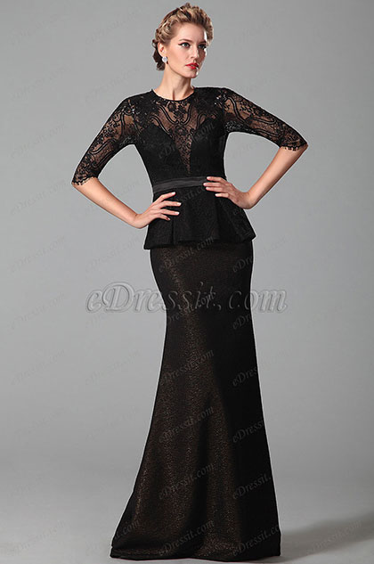Stunning Black Half Lace Sleeves Mother of the Bride Dress (26150400)