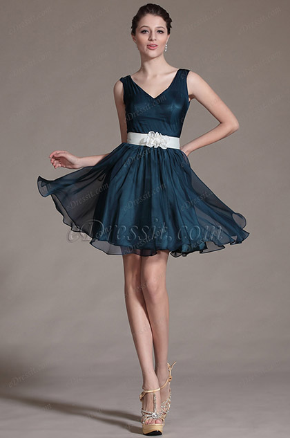 Robe demoiselle d'honneur bleue patineuse simple col en V (C07140505)