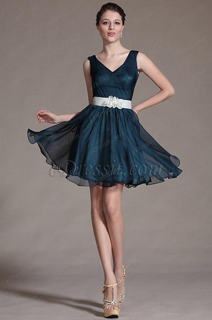 Simple V Cut Neck Floral Waist Band Bridesmaid Dress (C07140505)