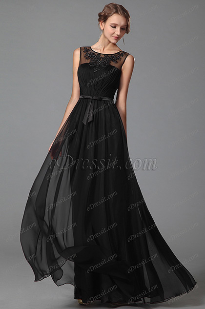 eDressit Sleeveless Black Evening Gown With Lace Details (00152800)