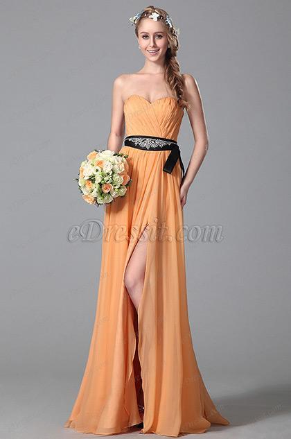 Robe demoiselle d'honneur orange A-line fendue sans bretelle (07150410)