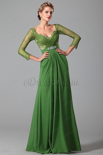 Long Lace Sleeves Green Mother Of The Bride Gown 26150904