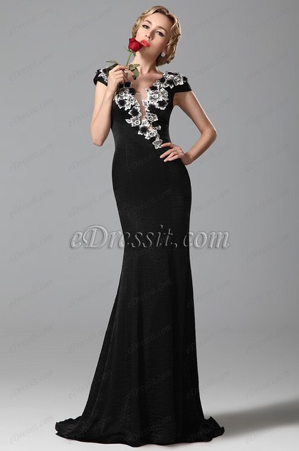 Magnfico Vestido de Noche Bordado Aplique Mangas de Chapeo Negro(02151100)