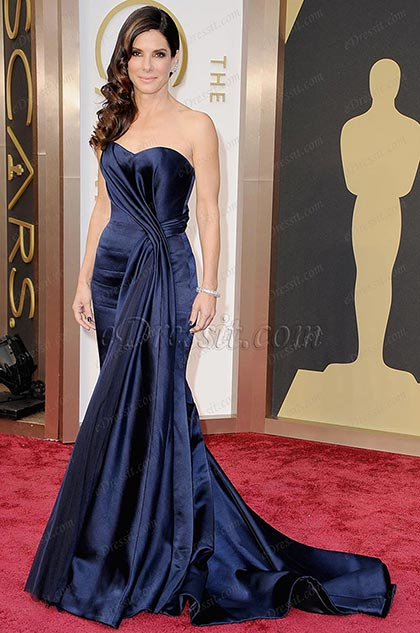 Custom Made Sandra Bullock Red Carpet Gorgeous Evening Gown (cm1411)
