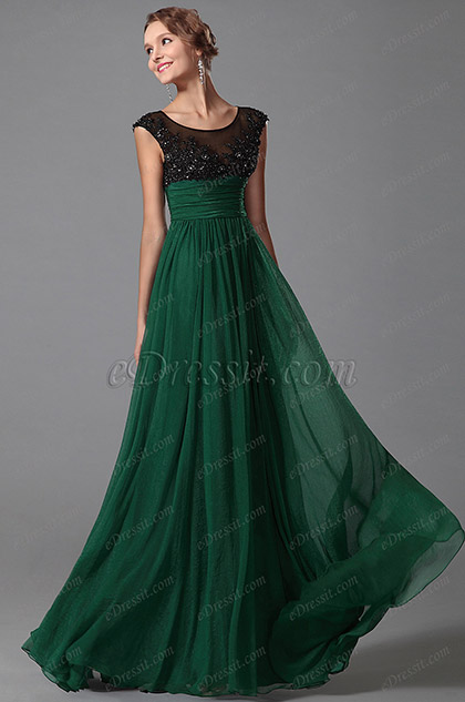 eDressit Green Cap Sleeves Evening Dress Prom Gown (00152704)