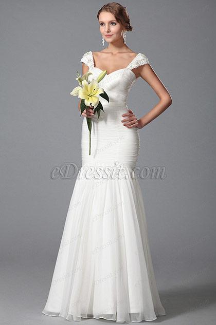 Cap Sleeves Sweetheart Neck Bridal Dress Floor Length
