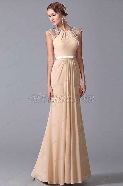Elegant Beaded Cap Sleeves Floor Length Evening Dress Formal Gown (00150414)