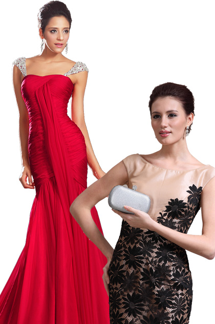Charming Fitted Red Evening Dress + Silver Handbag Set (00131002+08131026)