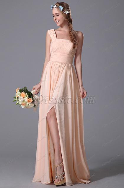 Elegant One Shoulder Slit Peach Bridesmaid Dress (07150301)