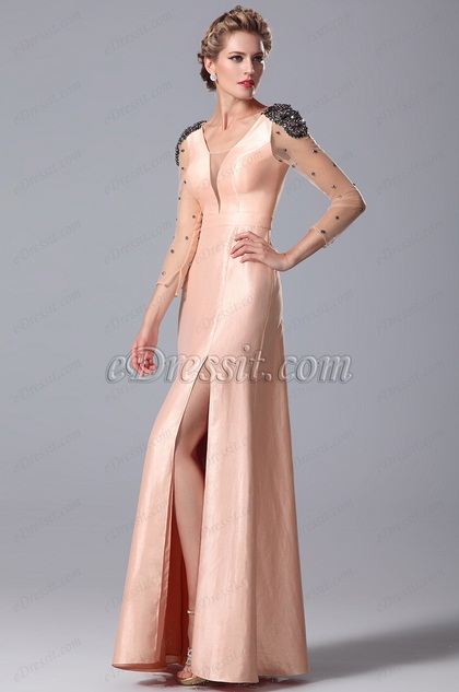 Gorgeous High Slit Peach Mother of the Bride Gown (26151301)