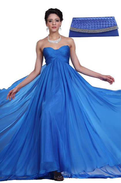 Strapless Blue Evening Dress + Blue Handbag Set (00117905+08111005)