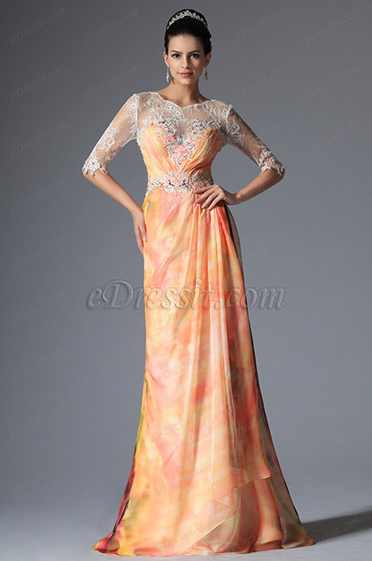 Illusion Sheer Top Lace Half Sleeves Printed Dress Evening Gown (26147668)
