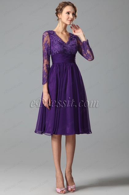 Purple Cocktail Dress Party Dress With Long Lace Sleeves (26152206)